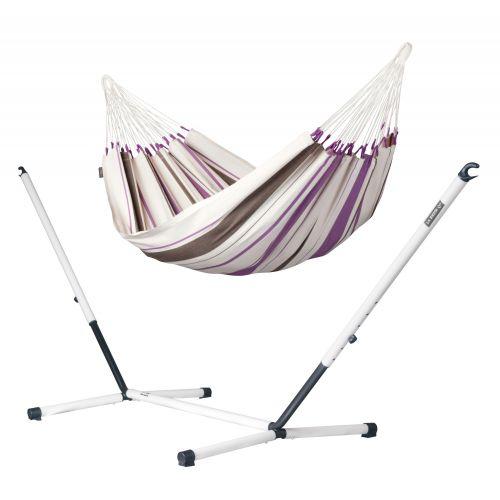Caribeña Purple - Hamaca clásica individual y soporte de acero lacado en polvo