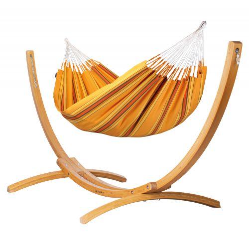 Currambera Apricot - Hamaca clásica doble y soporte de alerce con certificación FSC™