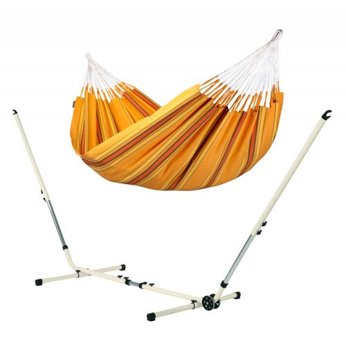 Currambera Apricot - Hamaca clásica doble y soporte de acero lacado en polvo