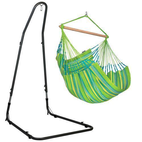 Domingo Lime - Silla colgante comfort y soporte de acero lacado en polvo