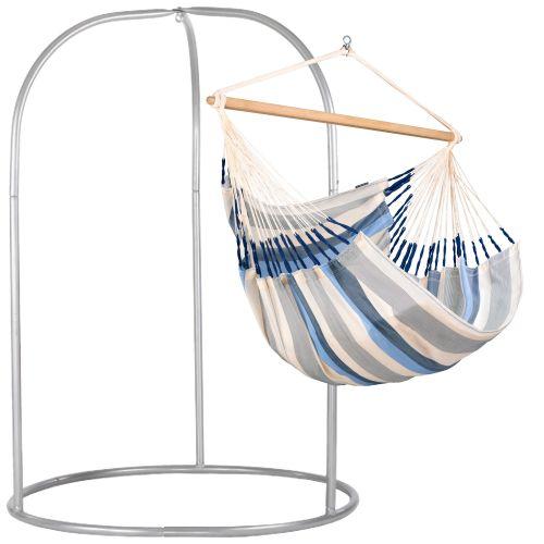 Domingo Sea Salt - Silla colgante kingsize y soporte de acero lacado en polvo