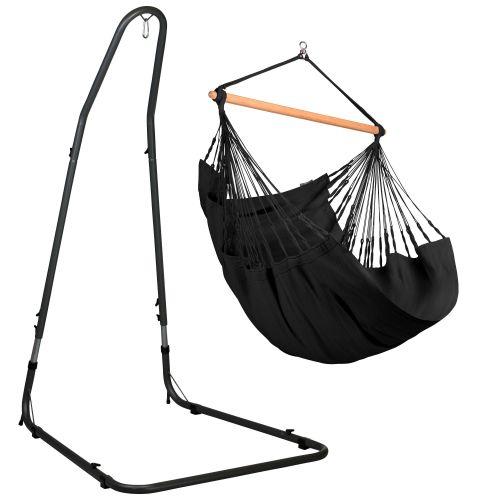 Habana Onyx - Silla colgante comfort y soporte de acero lacado en polvo