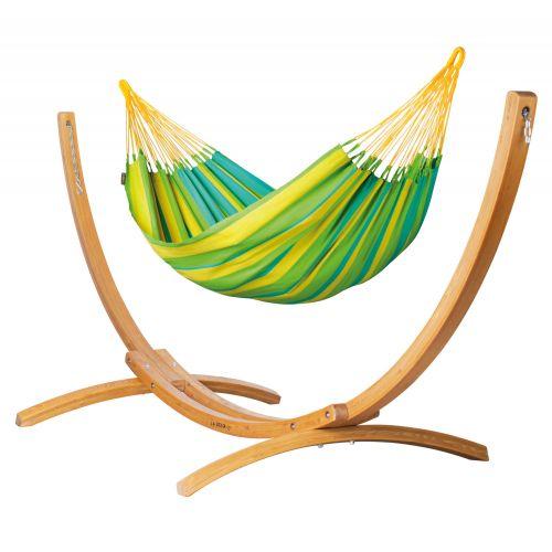 Sonrisa Lime - Hamaca clásica individual y soporte de alerce con certificación FSC™